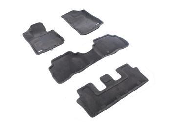 Двухслойные коврики Sotra 3D Premium 12mm Grey для Kia Sorento (7 seats)(mkII) 2013-2014 — фото